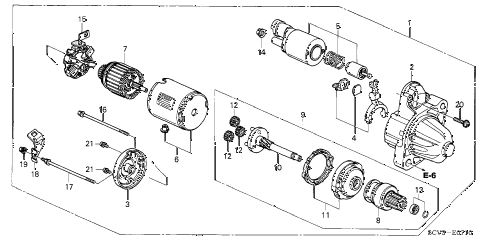 2005 element EX(2WD,SD AIR BAG 5 DOOR 5MT STARTER MOTOR (MITSUBISHI) (MHG016) diagram