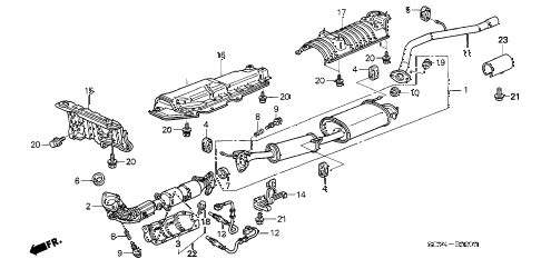 2005 element EX(4WD,SD A/B) 5 DOOR 5MT EXHAUST PIPE - MUFFLER diagram