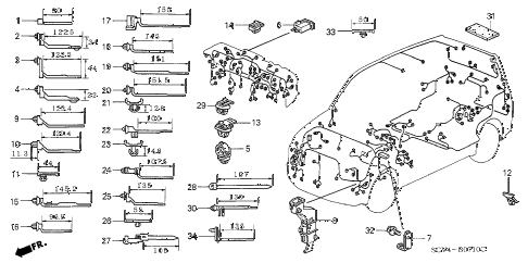 2004 element EX(4WD,SD A/B) 5 DOOR 5MT HARNESS BAND - BRACKET diagram