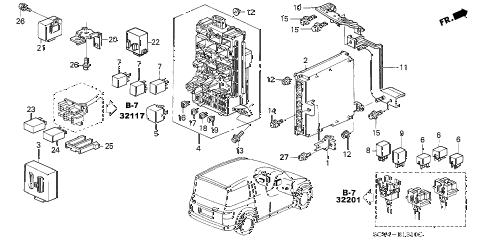 2005 element LX(4WD) 5 DOOR 5MT CONTROL UNIT (CABIN) diagram
