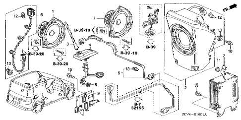 2005 element EX(4WD,SD A/B) 5 DOOR 5MT RADIO ANTENNA - SPEAKER (2) diagram