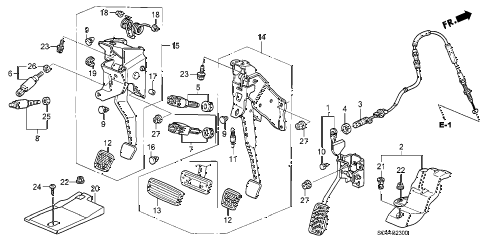 2005 element EX(2WD,SD AIR BAG 5 DOOR 5MT PEDAL diagram
