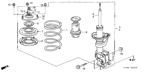 2003 element EX(2WD,SD AIR BAG 5 DOOR 5MT FRONT SHOCK ABSORBER diagram