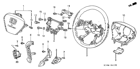 2005 element EX(2WD,SD AIR BAG 5 DOOR 5MT STEERING WHEEL (SRS) diagram