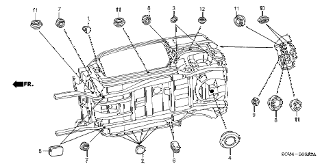 2006 element EX-P(2WD,SD AIR BAG 5 DOOR 5MT GROMMET (UNDER) diagram