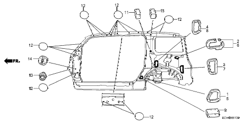 2005 element EX(2WD,SD AIR BAG 5 DOOR 5MT GROMMET (SIDE) diagram