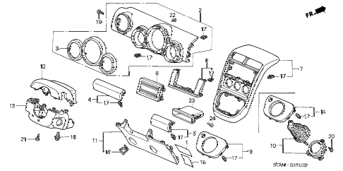 2005 element EX(4WD,SD A/B) 5 DOOR 5MT INSTRUMENT PANEL GARNISH (DRIVER SIDE) diagram