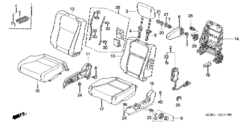 2004 element EX(2WD,SD AIR BAG 5 DOOR 5MT FRONT SEAT (L.) diagram