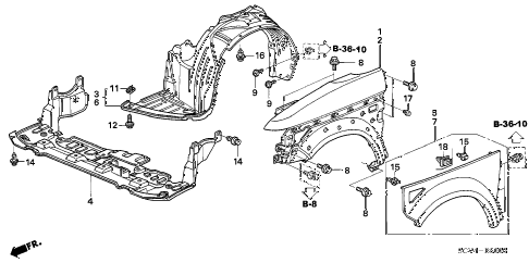 2004 element EX(2WD,SD AIR BAG 5 DOOR 5MT FRONT FENDER diagram