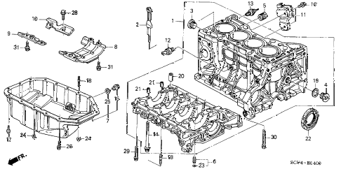 2005 element EX(4WD,SD A/B) 5 DOOR 5MT CYLINDER BLOCK - OIL PAN diagram