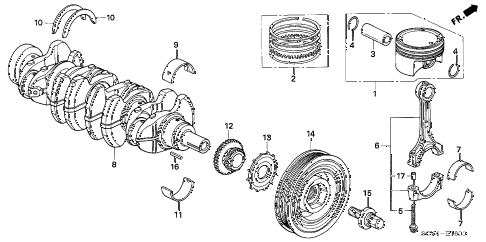 2003 element EX(2WD,SD AIR BAG 5 DOOR 5MT PISTON - CRANKSHAFT diagram