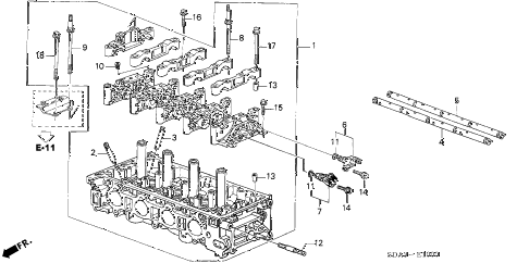2004 element EX(4WD,SD A/B) 5 DOOR 5MT CYLINDER HEAD diagram