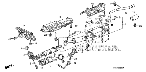 2009 element EX(4WD) 5 DOOR 5MT EXHAUST PIPE - MUFFLER diagram