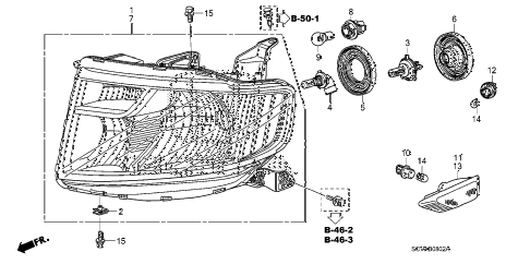 2009 element EX(2WD) 5 DOOR 5MT HEADLIGHT (3) diagram