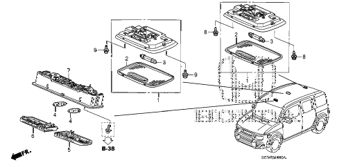 2008 element LX(4WD) 5 DOOR 5MT INTERIOR LIGHT (1) diagram
