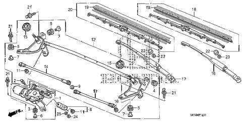 2007 element SC 5 DOOR 5MT FRONT WINDSHIELD WIPER diagram