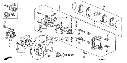 2010 element EX(4WD) 5 DOOR 5MT REAR BRAKE (DISK) diagram