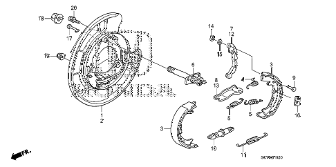 2007 element SC 5 DOOR 5MT PARKING BRAKE SHOE diagram