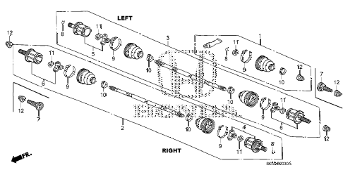 2007 element LX(4WD) 5 DOOR 5MT REAR DRIVESHAFT diagram