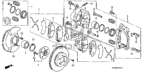 2007 element LX(4WD) 5 DOOR 5MT FRONT BRAKE (DISK) diagram