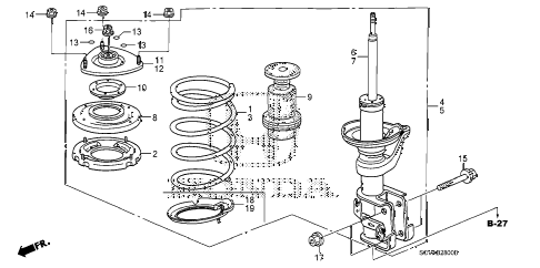 2008 element LX(4WD) 5 DOOR 5MT FRONT SHOCK ABSORBER diagram