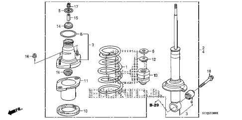 2007 element SC 5 DOOR 5MT REAR SHOCK ABSORBER diagram