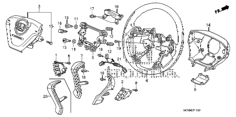 2008 element LX(2WD) 5 DOOR 5MT STEERING WHEEL (SRS) diagram