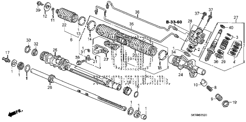 2007 element SC 5 DOOR 5MT P.S. GEAR BOX COMPONENTS diagram