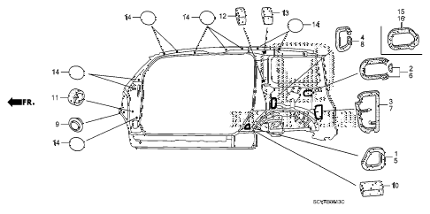 2008 element LX(2WD) 5 DOOR 5MT GROMMET (SIDE) diagram
