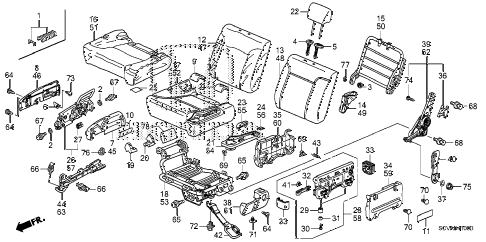 2008 element SC 5 DOOR 5MT REAR SEAT diagram