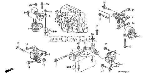 2007 element LX(4WD) 5 DOOR 5MT ENGINE MOUNTS (MT) diagram