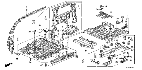 2009 element EX(2WD) 5 DOOR 5MT FLOOR - INNER PANEL diagram