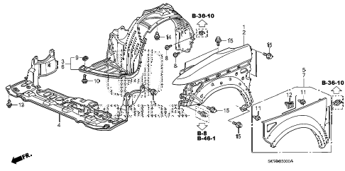 2007 element EX(4WD) 5 DOOR 5MT FRONT FENDER (1) diagram