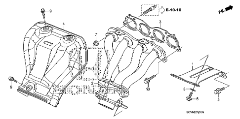 2009 element EX(2WD) 5 DOOR 5MT EXHAUST MANIFOLD diagram