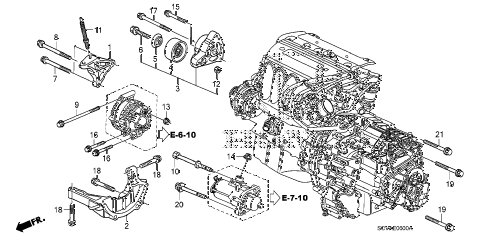 2007 element SC 5 DOOR 5MT ENGINE MOUNTING BRACKET diagram