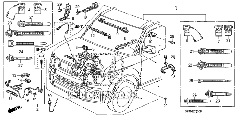 2010 element EX(4WD) 5 DOOR 5MT ENGINE WIRE HARNESS diagram