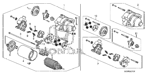2008 element LX(4WD) 5 DOOR 5MT STARTER MOTOR (MITSUBA) diagram