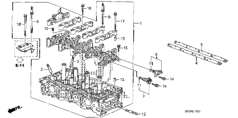 2009 element EX(4WD) 5 DOOR 5MT CYLINDER HEAD diagram