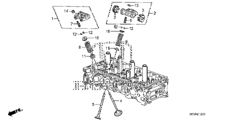 2009 element EX(2WD) 5 DOOR 5MT VALVE - ROCKER ARM diagram