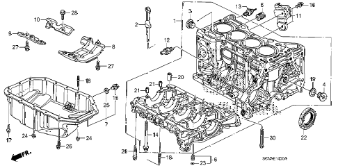 2007 element SC 5 DOOR 5MT CYLINDER BLOCK - OIL PAN diagram