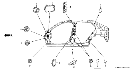 2005 accord DX 4 DOOR 5MT GROMMET (SIDE) diagram