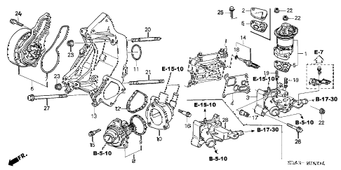 2005 accord LX 4 DOOR 5MT WATER PUMP (L4) diagram