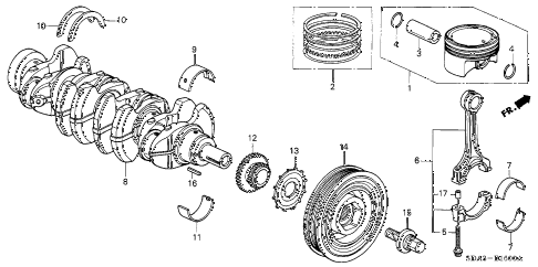 2006 accord SE 4 DOOR 5MT CRANKSHAFT - PISTON (L4) diagram