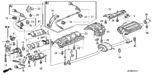2003 accord EXL(NAVI) 4 DOOR 5MT EXHAUST PIPE (L4) diagram