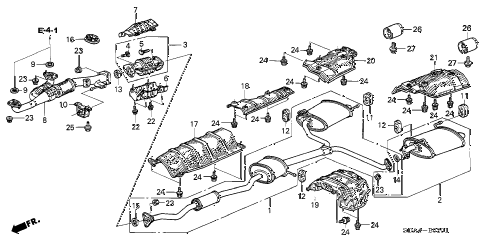 2006 accord EX(V6 NAVI) 4 DOOR 6MT EXHAUST PIPE (V6) diagram