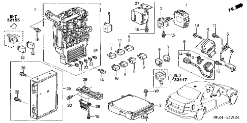 2003 accord LX 4 DOOR 5MT CONTROL UNIT (CABIN) diagram