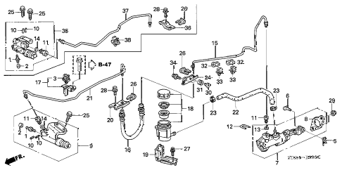 2004 accord LX 4 DOOR 5MT CLUTCH MASTER CYLINDER diagram