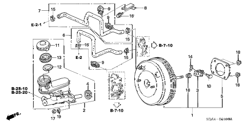 2005 accord EXL(NAVI) 4 DOOR 5MT BRAKE MASTER CYLINDER  - MASTER POWER (KA/KC/KL) diagram