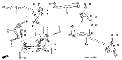 2003 accord EX(V6) 4 DOOR 5AT FRONT LOWER ARM diagram