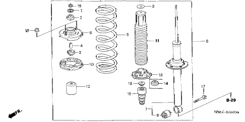 2006 accord LX 4 DOOR 5MT REAR SHOCK ABSORBER diagram